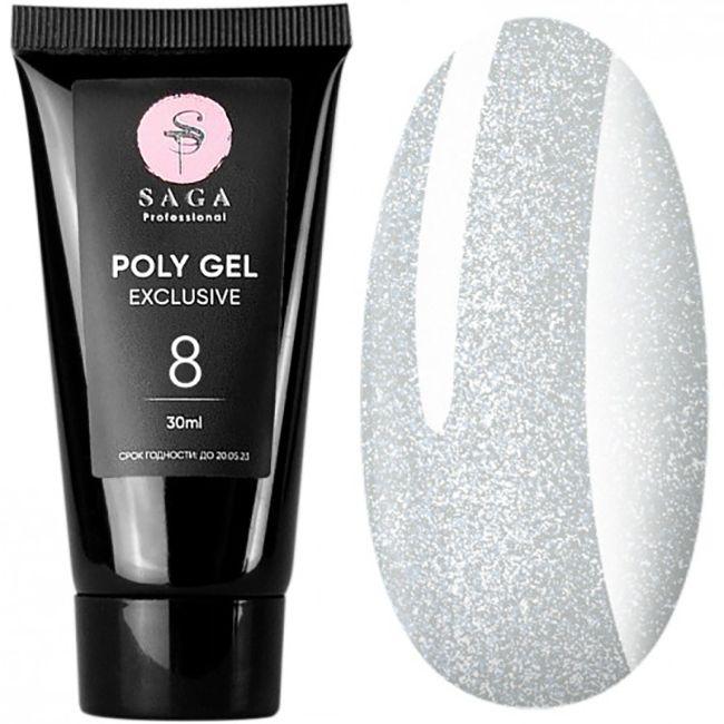 Полигель Saga Poly Gel Exclusive №8 (молочный с шиммером) 30 мл