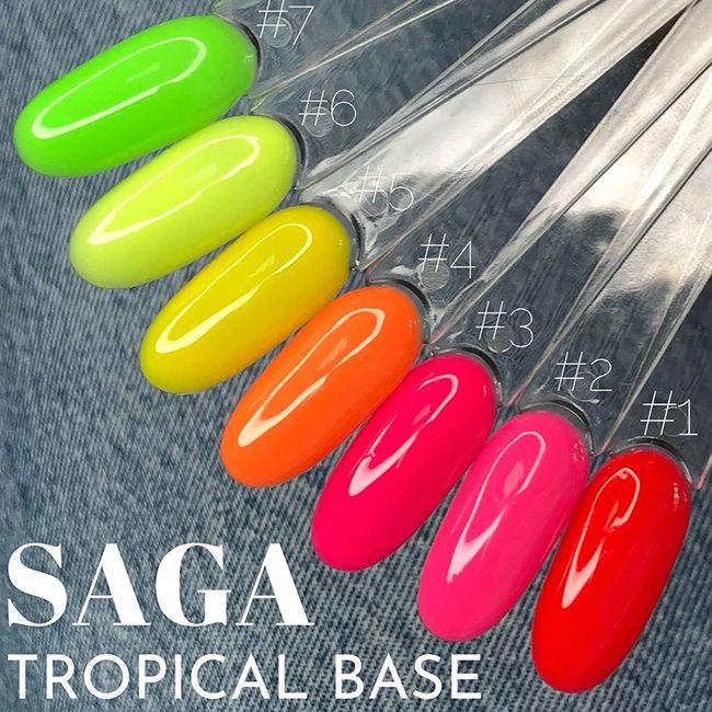 База для гель-лака камуфлирующая Saga Tropical Base №7 (неоновый лаймовый) 8 мл